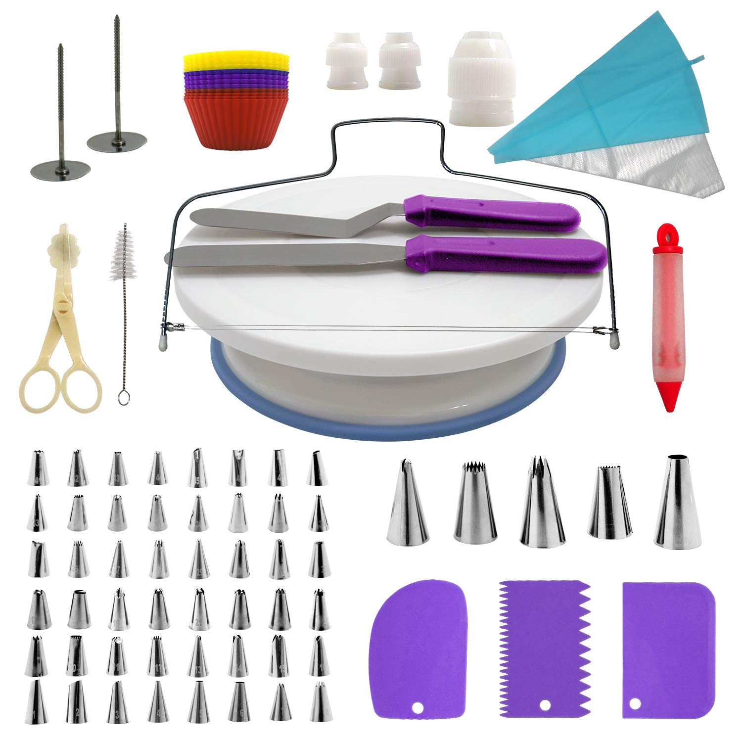 Cake Decorating Supplies Kit, 107 pieces - Cake Stand, Disposable and Reusable Piping Bags, Stainless Steel Piping Tips, Silicone Cupcake Molds, Cake Scrapers, Spatulas and many more baking supplies MAGCOR Kitchen