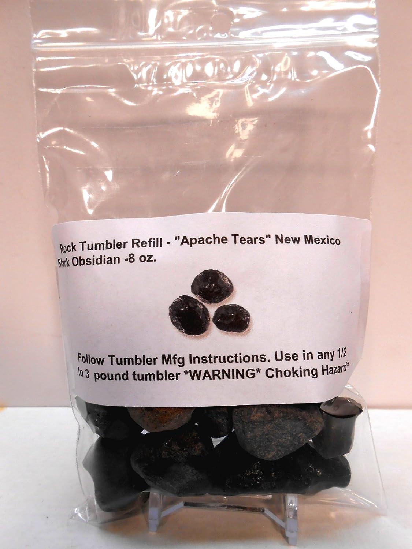 Rock Tumbler Gem Refill Kit New Mexico Apache Tears Black Obsidian (Volcanic Glass) Mix Rough 8 oz Rockhound's First Choice New Mexico Apache Tears
