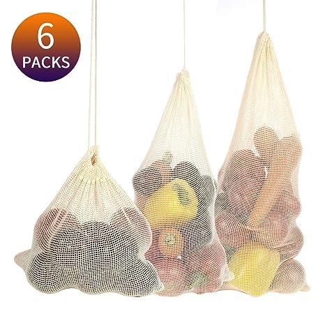 Amazon.com: Bolsas de algodón reutilizables, bolsas de ...