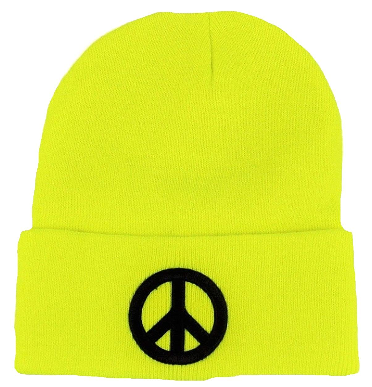 Yellow Beanie Hat with Peace Symbol knitted with turn up and embroidered  design  Amazon.co.uk  Clothing 648104609b0