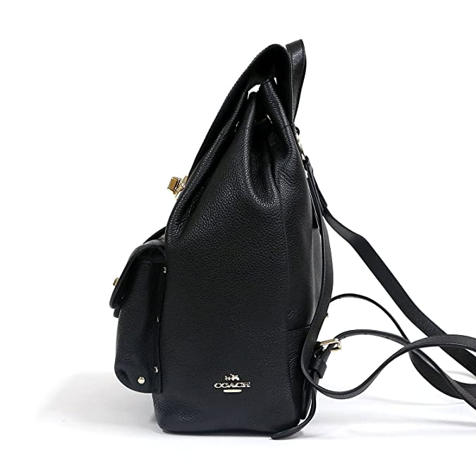 42f2002e0597b4 Amazon.com: COACH F37582 TURNLOCK RUCKSACK IN POLISHED PEBBLE LEATHER: Shoes