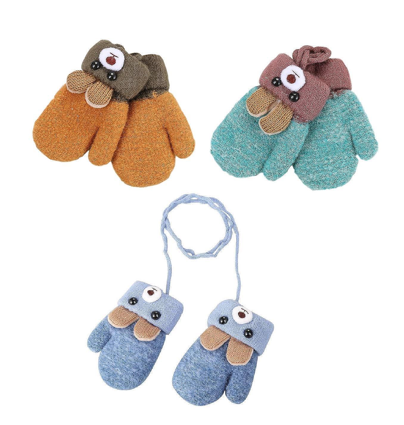 Snsunny Lot de 3 paires de gants dhiver pour enfant