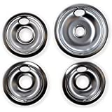 KITCHEN BASICS 101 Replacement Chrome Drip Pans for Whirlpool W10196405 and W10196406 - Includes an 8-Inch and 3 6-Inch Pans,