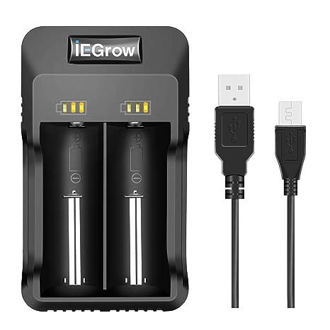 5ff4ff4f7cb iEGrow Caricabatterie Intelligente agli ioni di Litio con LED per Batterie  al Litio 26650