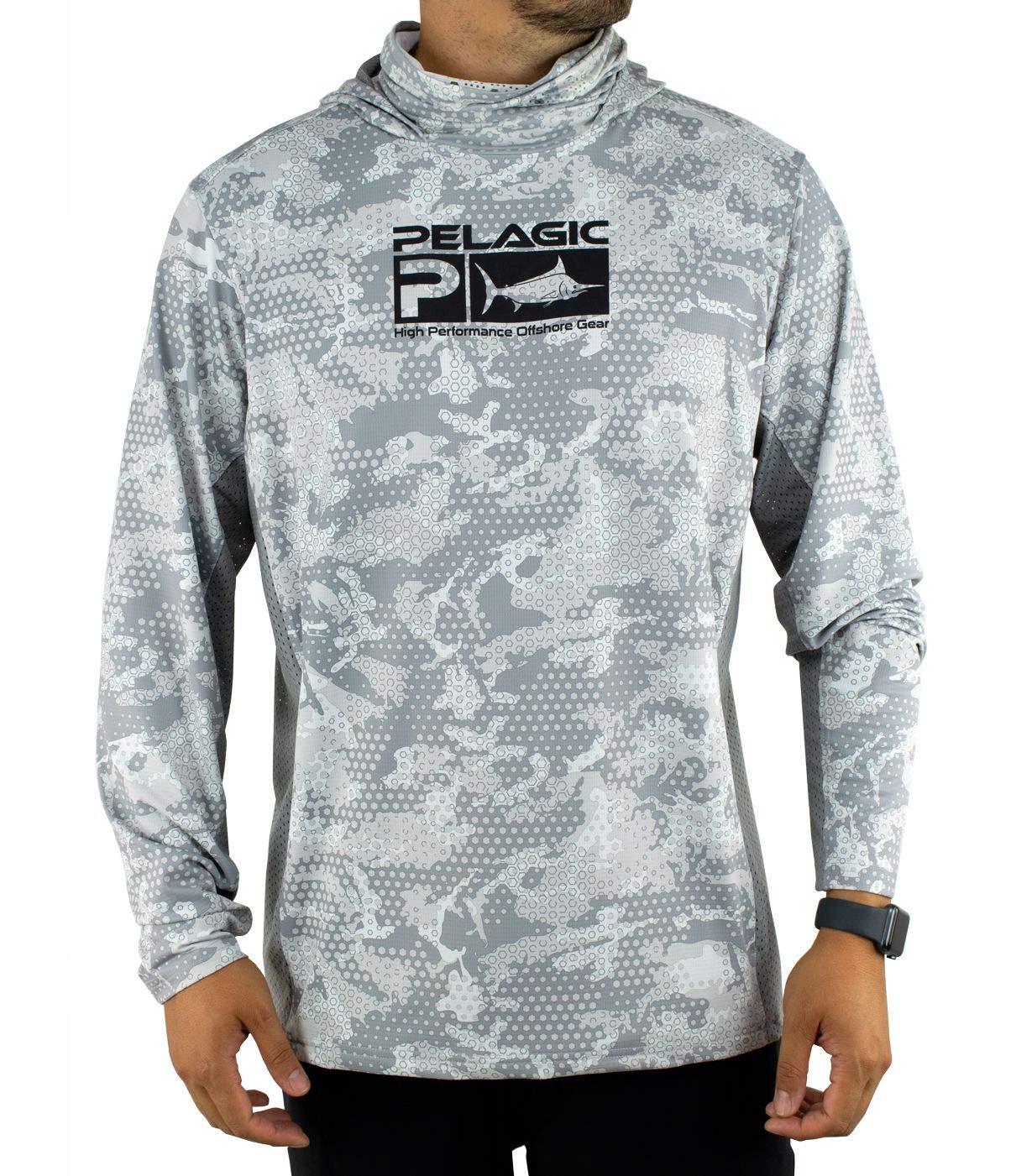 Pelagic Men's Exo-Tech Ambush Camo Hooded Long Sleeve Fishing Shirt | UPF 50+ Sun Protection