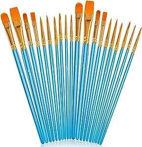 Soucolor Acrylic Paint Brushes Set, 20Pcs Artist Paintbrushes Paint Brushes for Acrylic Oil Watercolor, Canvas Body Face Rock Painting Kit, Fine Detail Miniature, Adult/Kids Arts Crafts Supplies