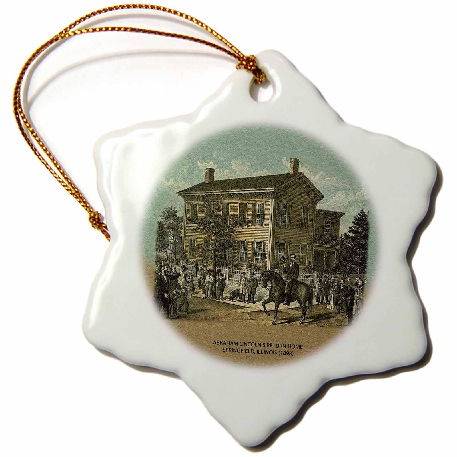 3dRose orn_55421_1 Abraham Lincolns Return Home Springfield, Illinois 1898-Snowflake Ornament, Porcelain, 3-Inch