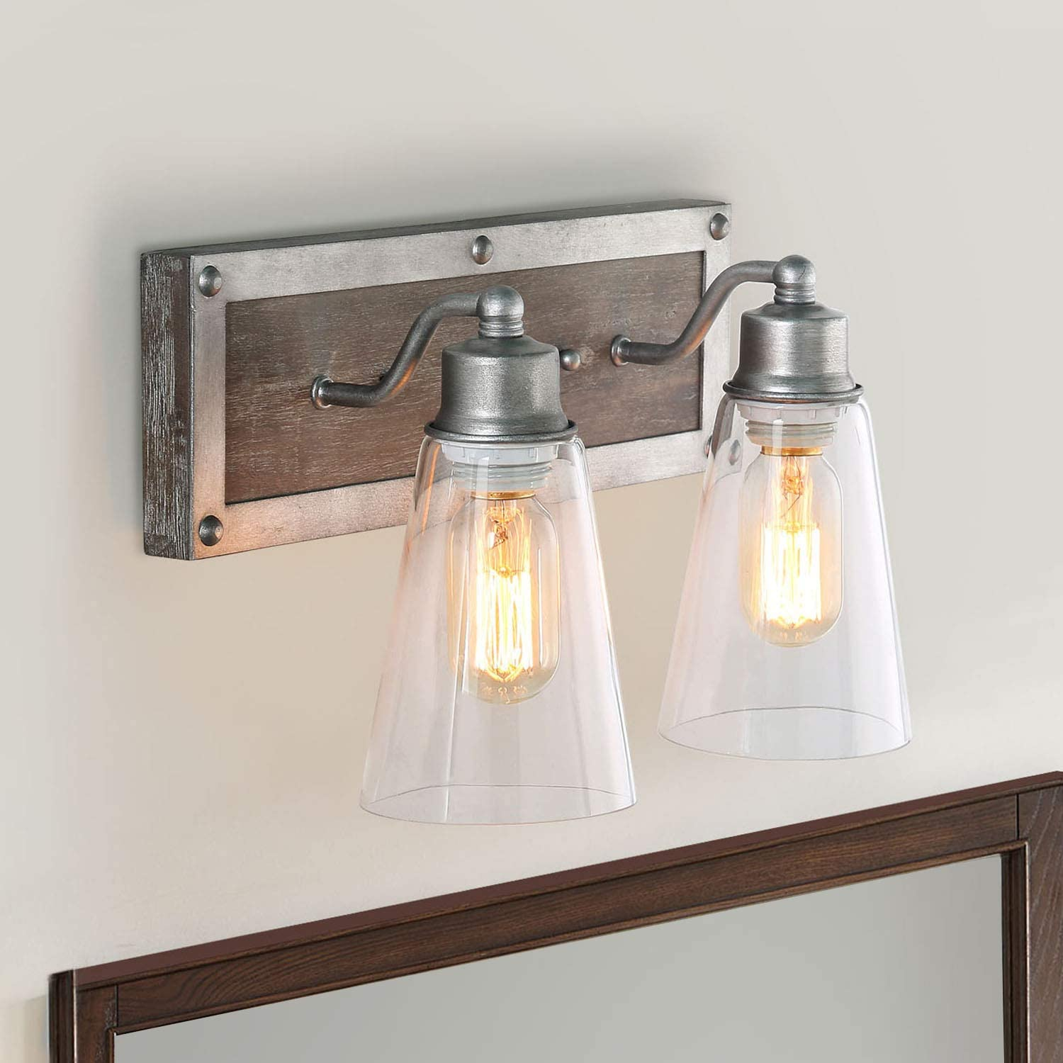 Amazon Com Log Barn 2 Lights Bathroom Lighting In Real Distressed Wood And Brushed Antique Silver Finish With Cone Clear Glass Shades 14 1 Vanity Light Fixture Home Kitchen