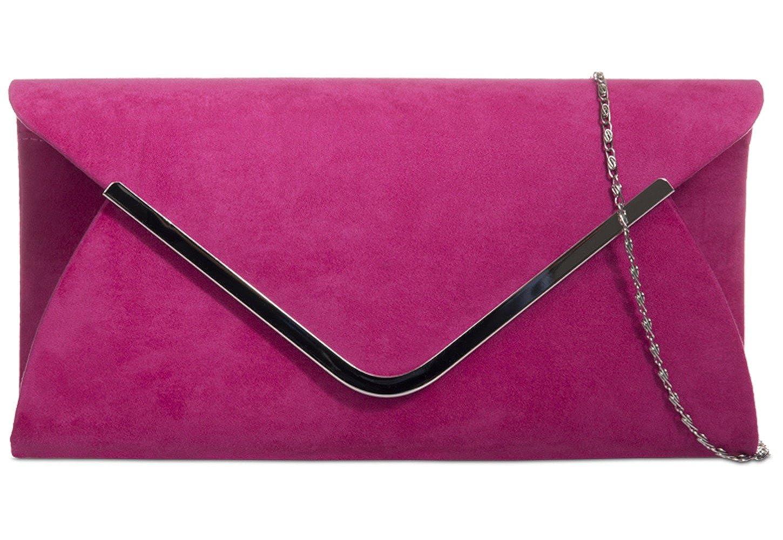special for shoe shop for luxury men/man Pink Envelope Clutch Bag, Cerise Faux Suede Evening Bag with Silver Tone  Metal Trim, Ladies Purple Possum Fuchsia Shoulder Bag, Prom Wedding Handbag
