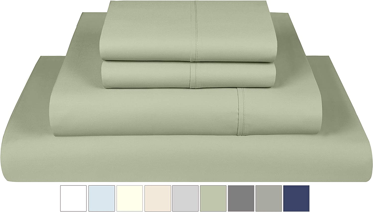 Threadmill Home Linen 800 Thread Count 100% Extra-Long Staple Cotton, Queen 4 Piece Bed Sheet Set, Luxury Bedding, Fits Mattresses up to 18 inches deep, Smooth Sateen Weave, Sage