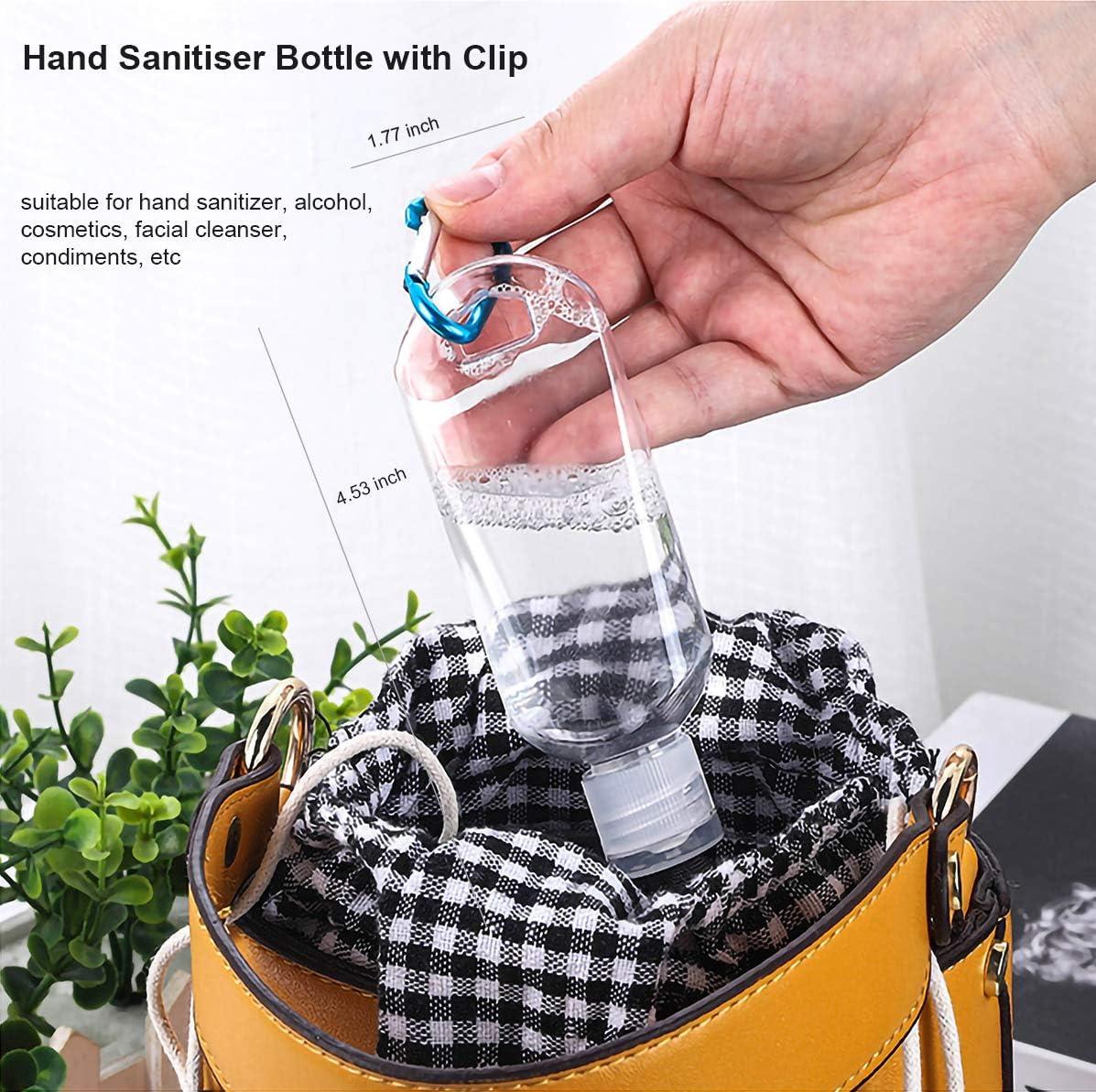 ni/ños botellas recargables de 50 ml escuela botellas de pl/ástico vac/ías para exteriores Botella desinfectante de mano con clip recipientes de viaje para cosm/éticos