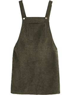 85212bc8d4 Romwe Women's Straps A-line Corduroy Pinafore Bib Pocket Overall Dress