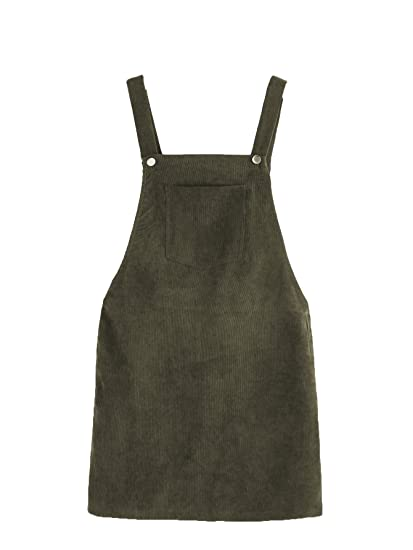79f0bfcf4d Romwe Women's Straps A-line Corduroy Pinafore Bib Pocket Overall Dress