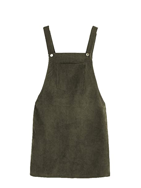 79336ccc9fa7 Romwe Women s Straps A-line Corduroy Pinafore Bib Pocket Overall Dress Army  Green XS