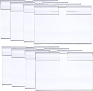 100Pcs Clear Plastic Wire Shelf Price Label Holder Retail Price Tag Label Card Holder Merchandise Sign Display Holder for Retail Store Supermarket Mall Price Display, 60 x 42MM