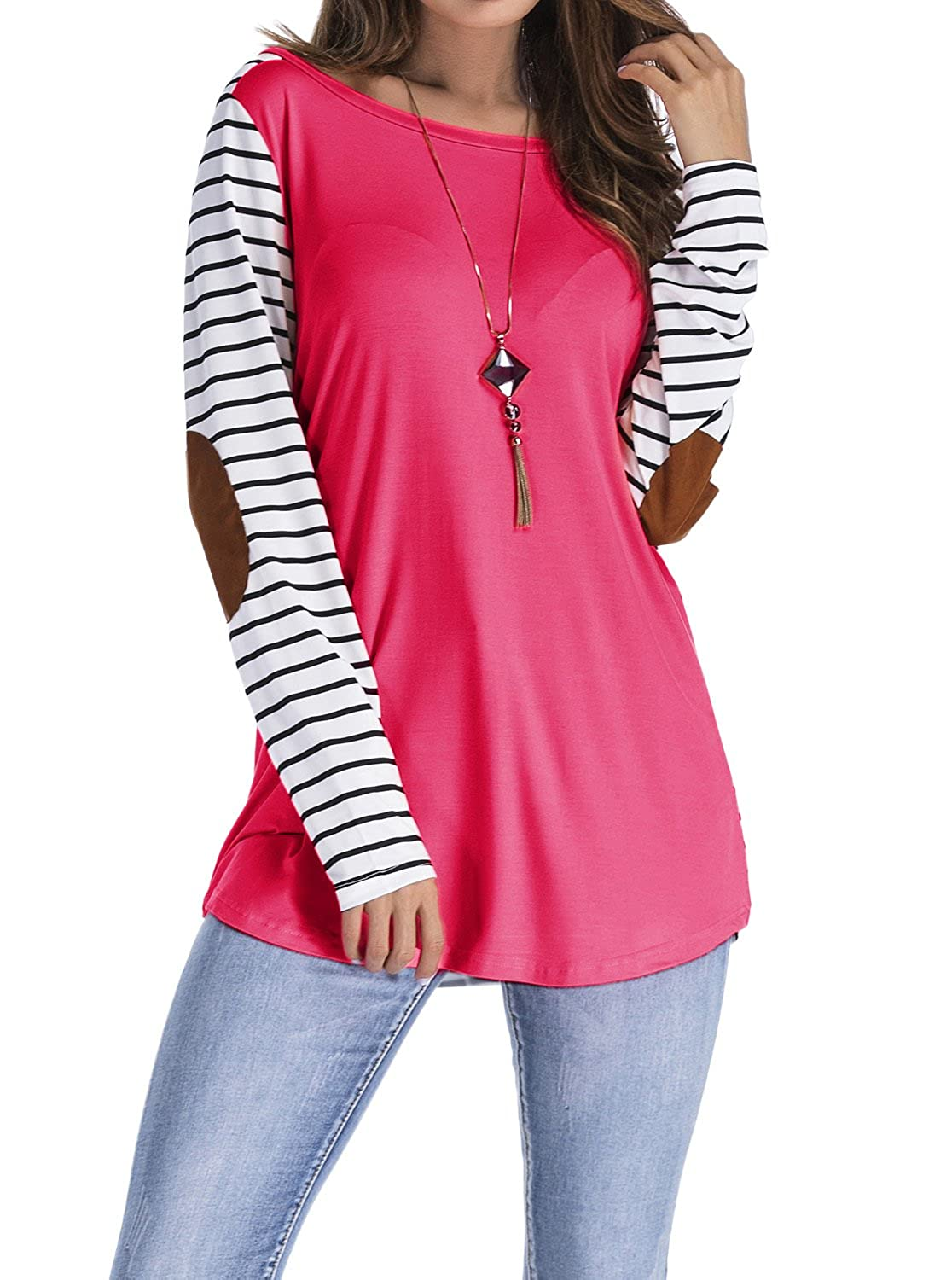 1e6b2105d11 rayon + spandex. Striped tunic tops with long sleeve. Feature Elbow details  with suede patches