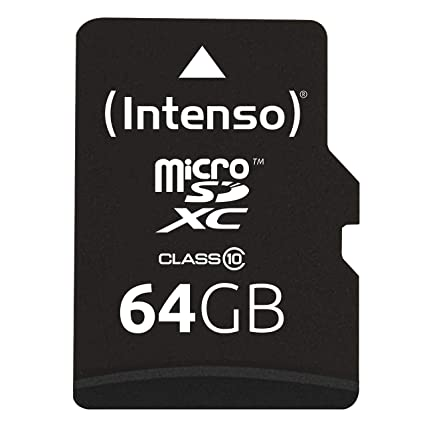 Intenso 3413490 - Tarjeta MicroSD de 64 GB (Adaptador SD Incluido, Clase: 10), Color Negro