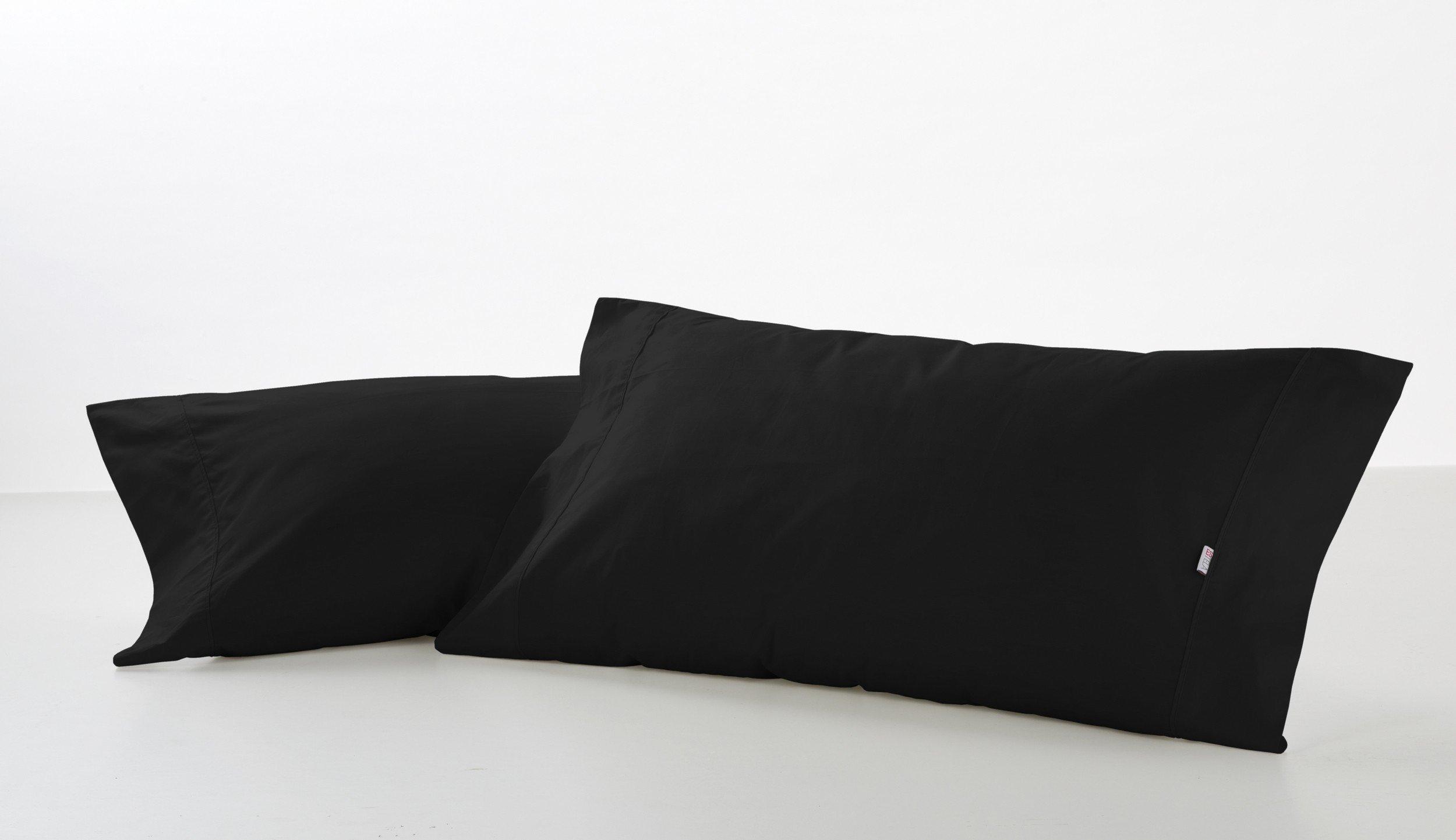 ES-TELA - Funda de almohada COMBI LISO color Negro - 2 piezas de 45x85