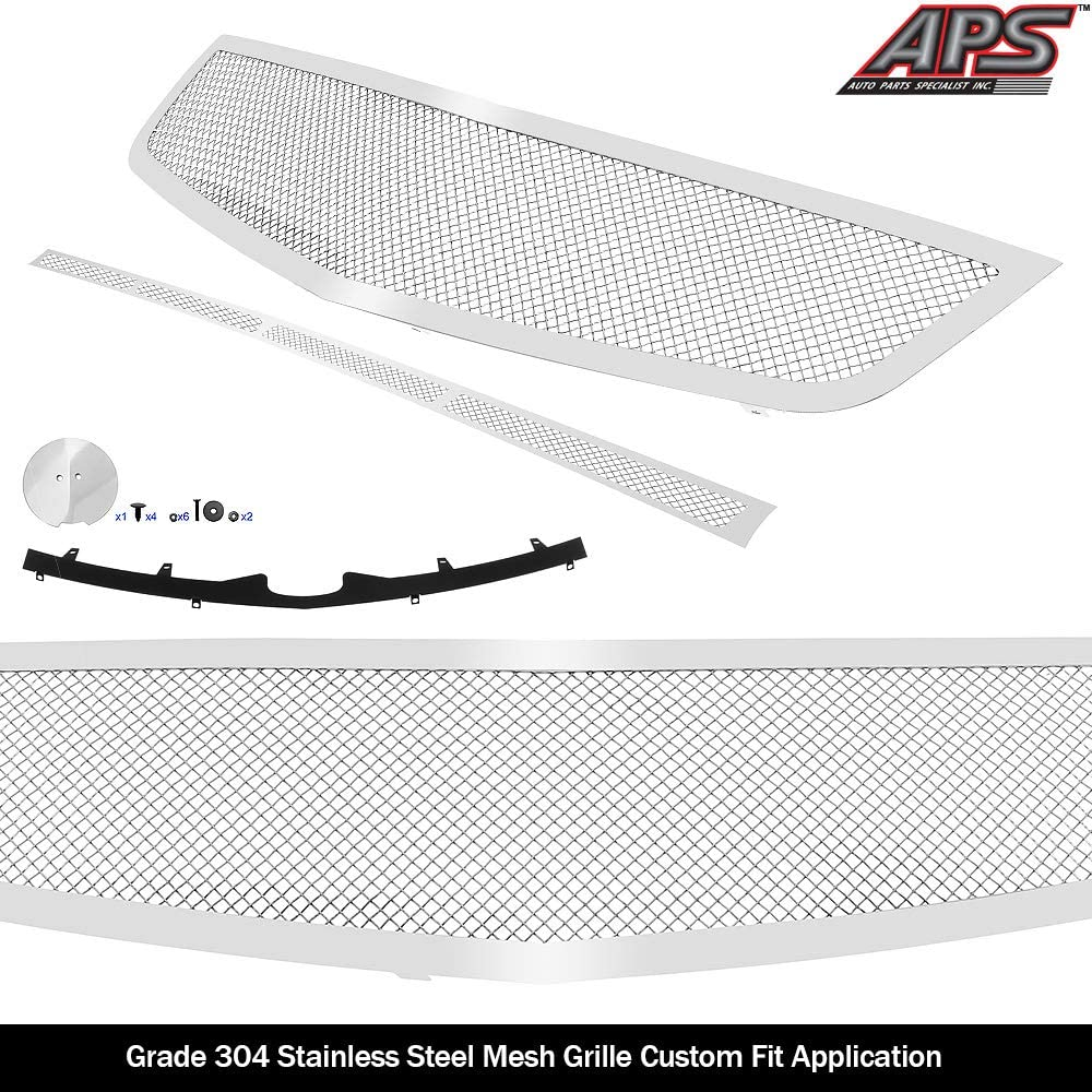 APS Compatible with 2006-2011 Cadillac DTS Stainless Mesh Grille Grill Combo Insert N19-T27017A