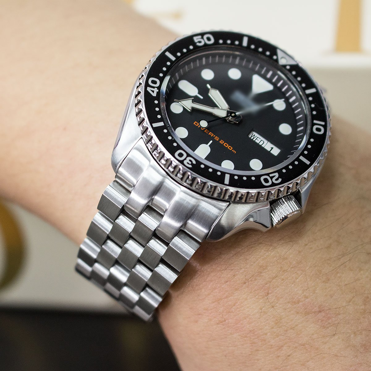 Super Engineer II Watch Bracelet for SEIKO SKX007 SKX009, Brushed, Button Chamfer by Seiko Replacement by MiLTAT (Image #2)