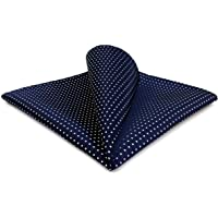 Shlax&Wing Dots Blue Navy White Pocket Square Mens Ties Silk Hanky