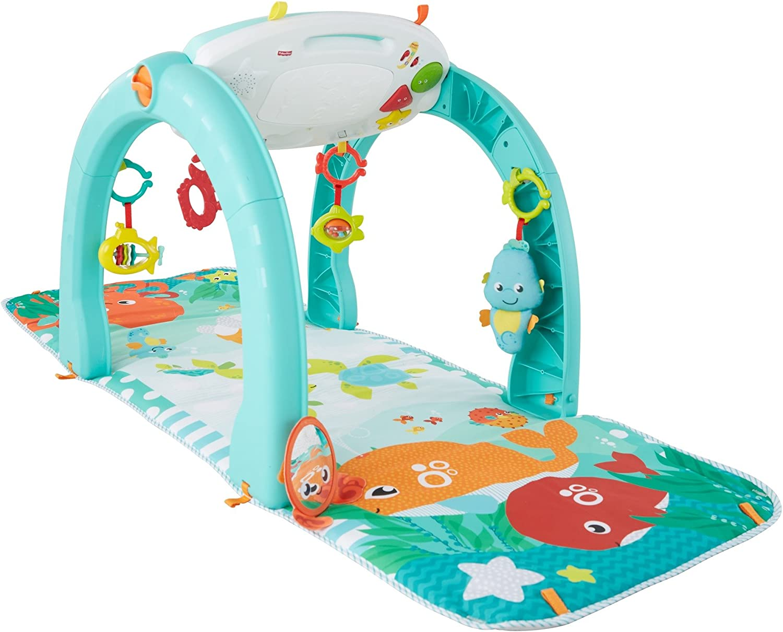 Fisher-Price Gimansio bebé océano 4 en 1, manta de juego para bebé (Mattel FXX12)