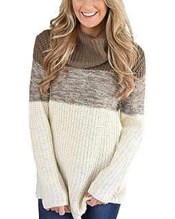 Aleumdr Mujer Suéter Mangas largas Jersey Cuello Alto Pulóver de Punto para Mujer Size S-