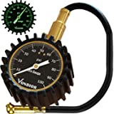 Tire Gauge - (0-100 PSI) Heavy Duty Tire Pressure Gauge. Certified ANSI Accurate with Large 2 Inch Easy to Read Glow Dial, Lo