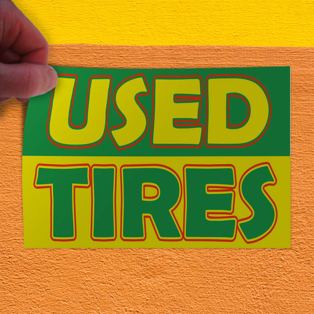 Set of 2 Decal Sticker Multiple Sizes Used Tires Green Yellow Business Car Outdoor Store Sign Grey 54inx36in