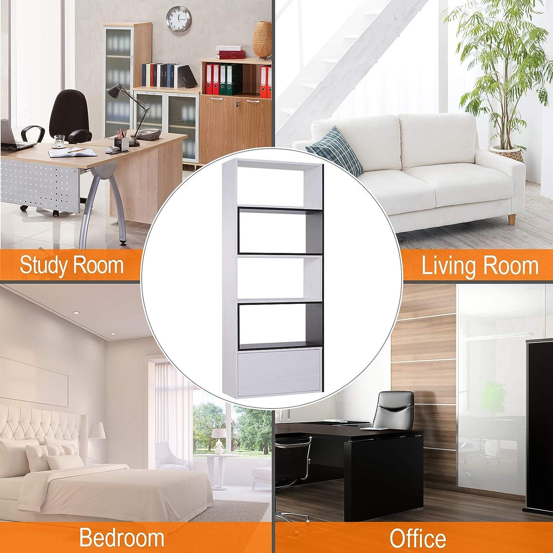 HOMCOM Multifunctional 360/° Free Rotating Storage Shelf Organiser with Bottom Drawer Suitable For Living Room Home Office