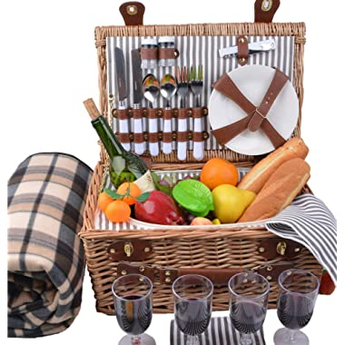 SatisInside New 2019 USA Insulated Luxury 29Pcs Kit Wicker Picnic Basket Set for 4 People - Reinforced Handle - Plus A Free Waterproof Fleece Blanket Worth $16.99 - Grey Stripes