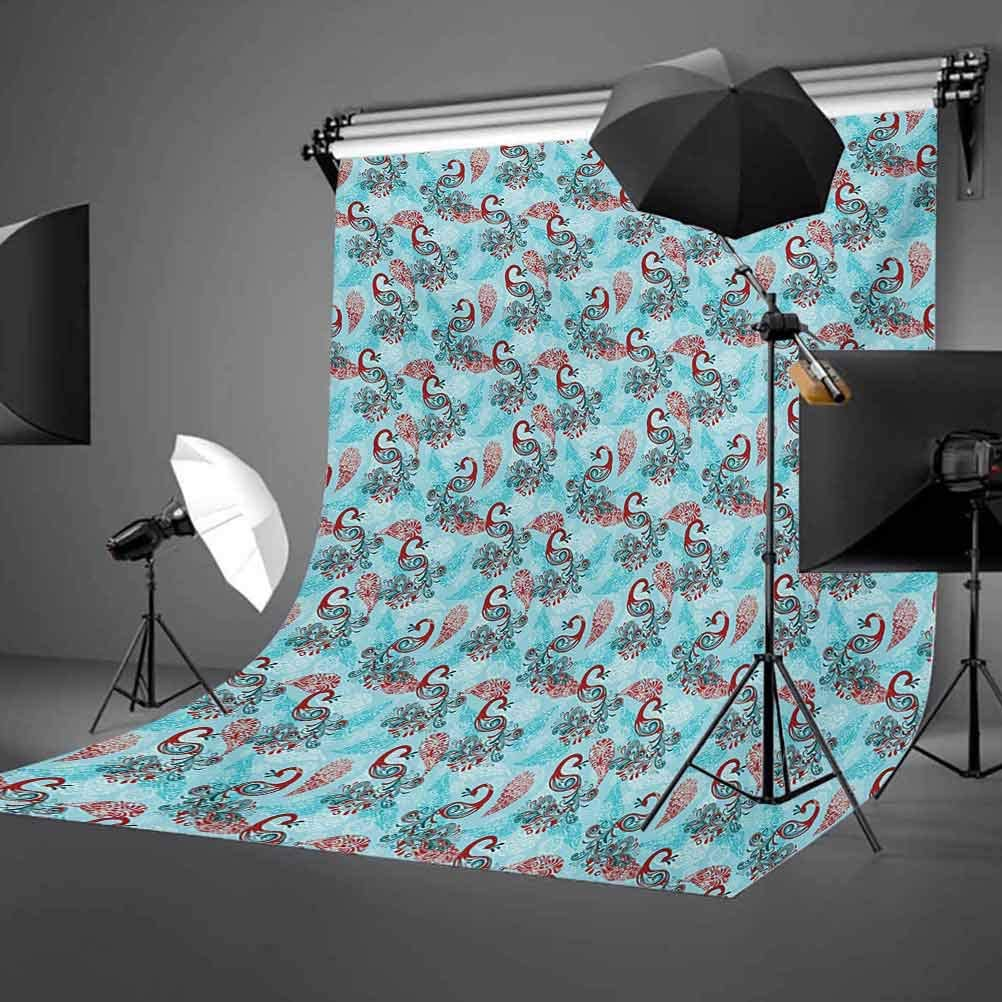 Peacock 10x15 FT Backdrop Photographers,Winter Pattern with Stylized Peacocks Snowflakes Floral Paisley Ornate Background for Photography Kids Adult Photo Booth Video Shoot Vinyl Studio Props