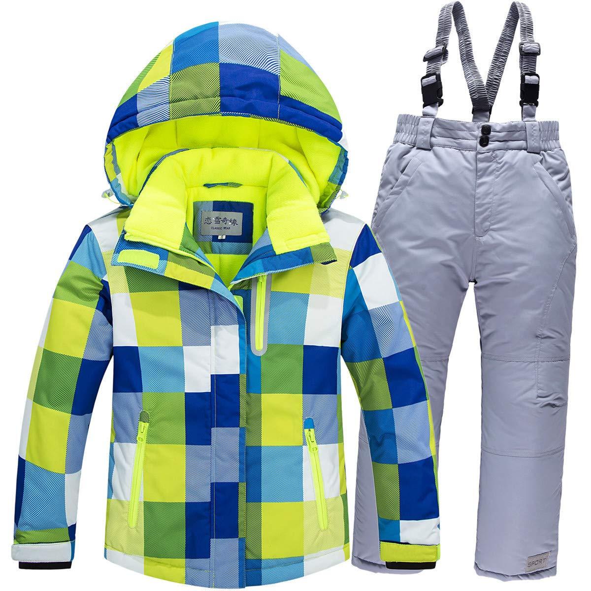Baby Girls Boys Kids Winter Warm Outdoor Mountain Waterproof Windproof Snowboarding Skiing Jackets with Snow Ski Bib Pants US16 by JELEUON