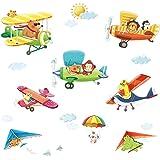 decowall da 1406 zug hei luftballons autos flugzeuge tiere wandtattoo wandsticker wandaufkleber. Black Bedroom Furniture Sets. Home Design Ideas