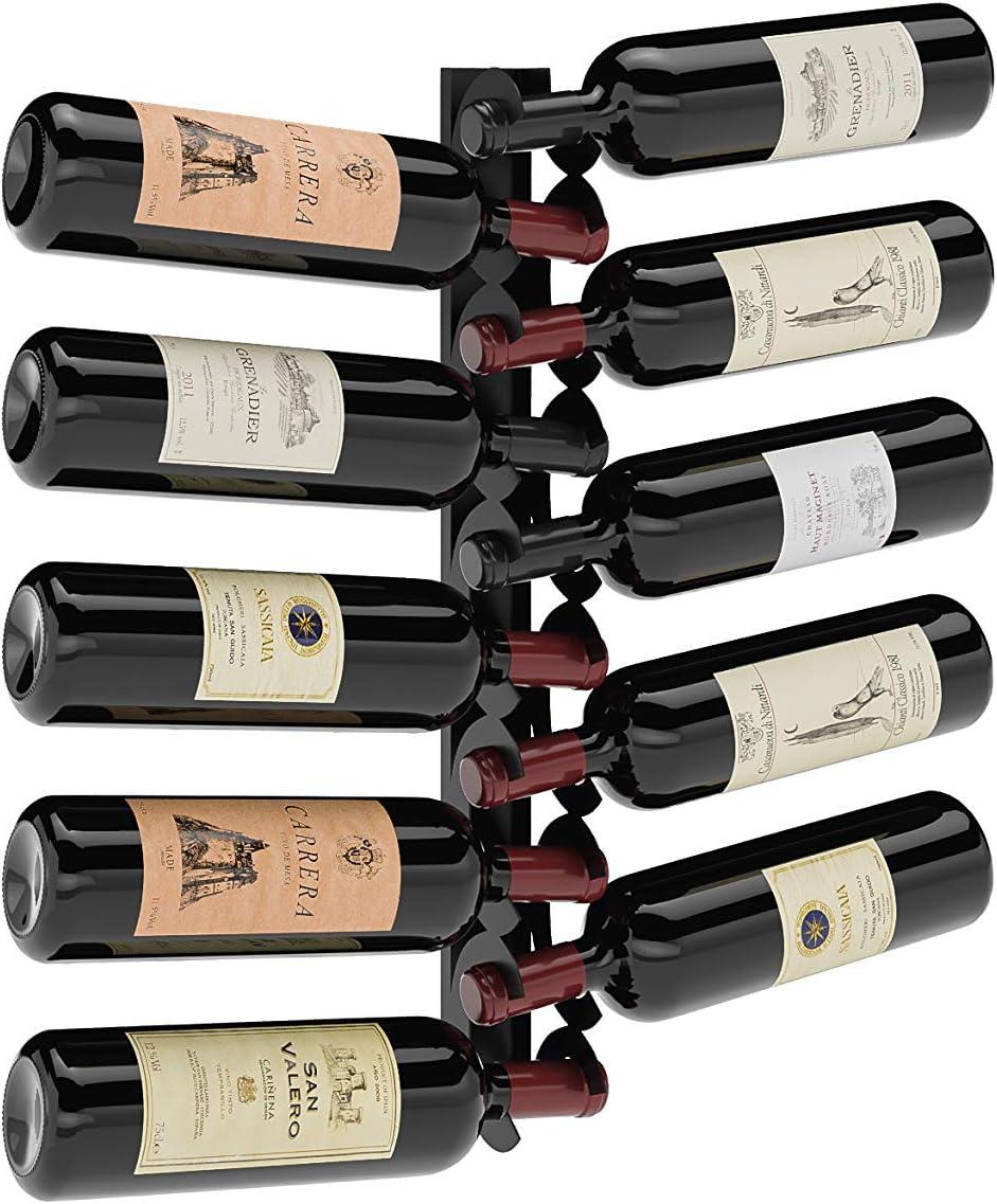 Class 10: Portabottiglie da vino in acciaio nero opaco da appendere a parete compreso di viti e fischer per il montaggio. made in Italy; portabottiglie con stoccaggio per 10 bottiglie