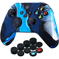 YoRHa Silicone Cover Skin Case for Xbox Series X/S Controller x 1(Camouflage Blue) with Thumb Grips x 10