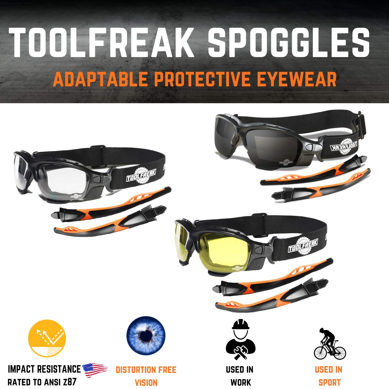 ToolFreak Spoggles Work and Sports Safety Glasses, Clear, Smoke and Yellow Tinted Lens Mega Bundle Offer, Foam Padded, ANSI z87 Rated with Impact and UV Protection by ToolFreak (Image #5)