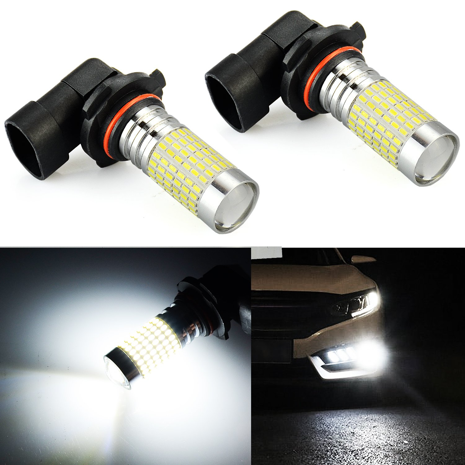 JDM ASTAR 2400 Lumens Extremely Bright 144-EX Chips H10 9140 9145 9050 9155 LED Fog Light Bulbs with Projector for DRL or Fog Lights, Xenon White (H10/9140/9145)