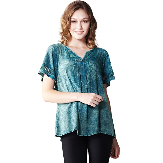 08586758fca Image Unavailable. Image not available for. Color  OneWorld Womens Fashion  Casual Prasinous V Neck Tunic Printed Pattern Loose T-Shirt Tops