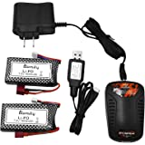 Blomiky 2 Pack 7.4V 1600mAh 45C T Connector Plug Li-Po Battery and Charger for 9125 1/10 Scale 48KMH 4X4 Fast RC Truck…