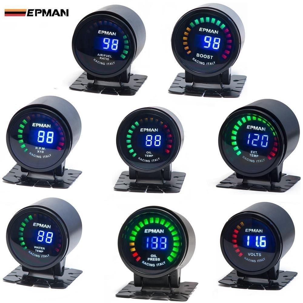 epman 52 mm Digital Color Analog LED PSI/bar Turbo Boost Gauge Medidor con sensor, monitor Racing Gauge: Amazon.es: Coche y moto