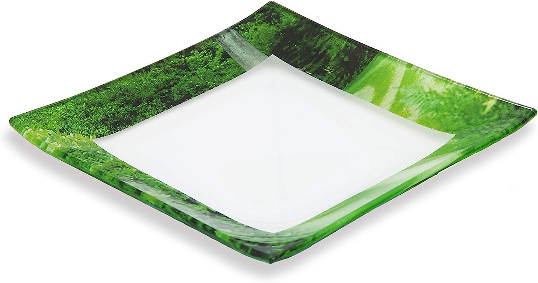 GAC Unique Landscape Design Square Tempered Glass Dessert Plates – 6 Inch – Set of 5 – Break Resistant – Oven Proof - Microwave and Dishwasher Safe - Attractive Green Colored Salad Plate Set