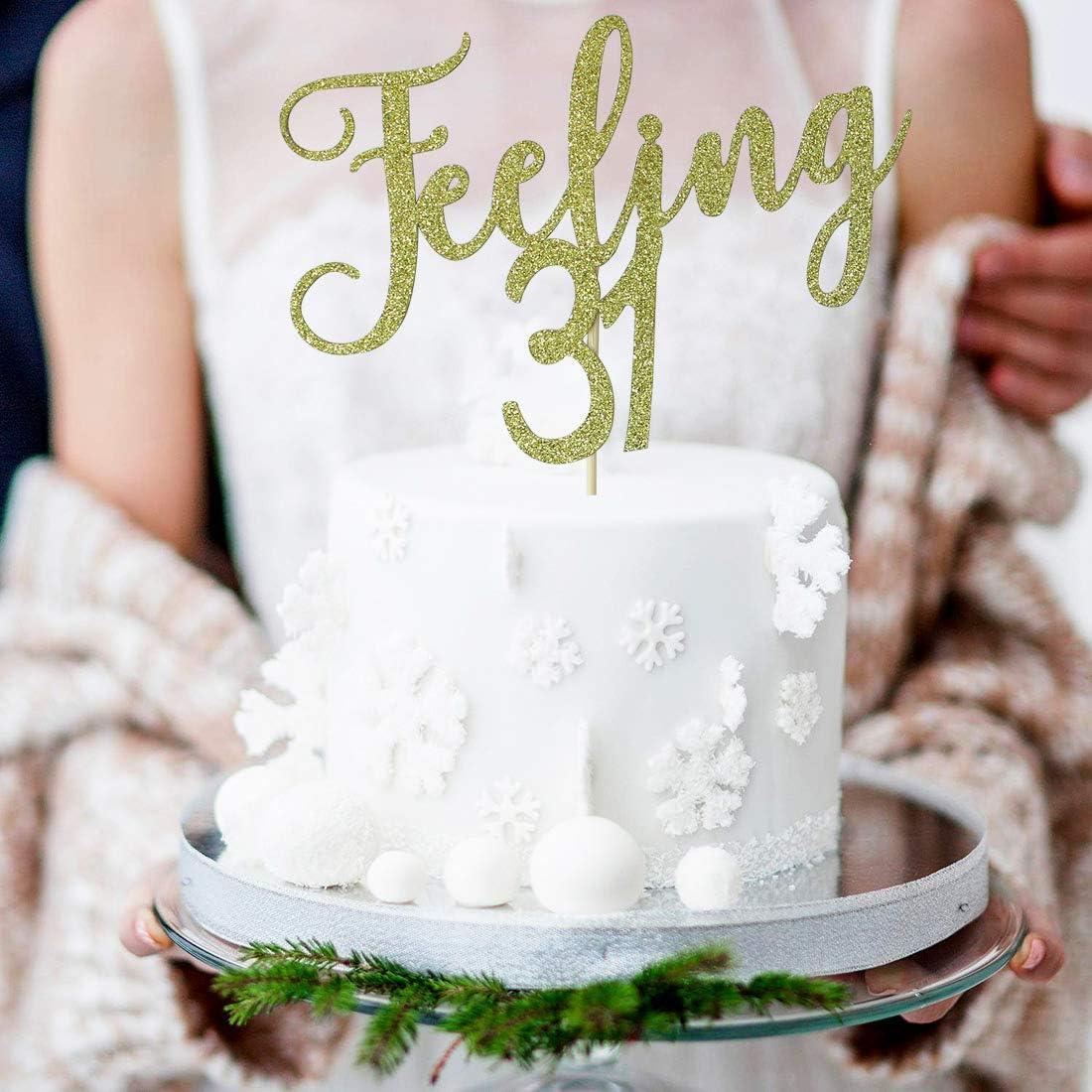 Magnificent Amazon Com Starsgarden Gold Glitter Feeling 31 Cake Topper Funny Birthday Cards Online Barepcheapnameinfo