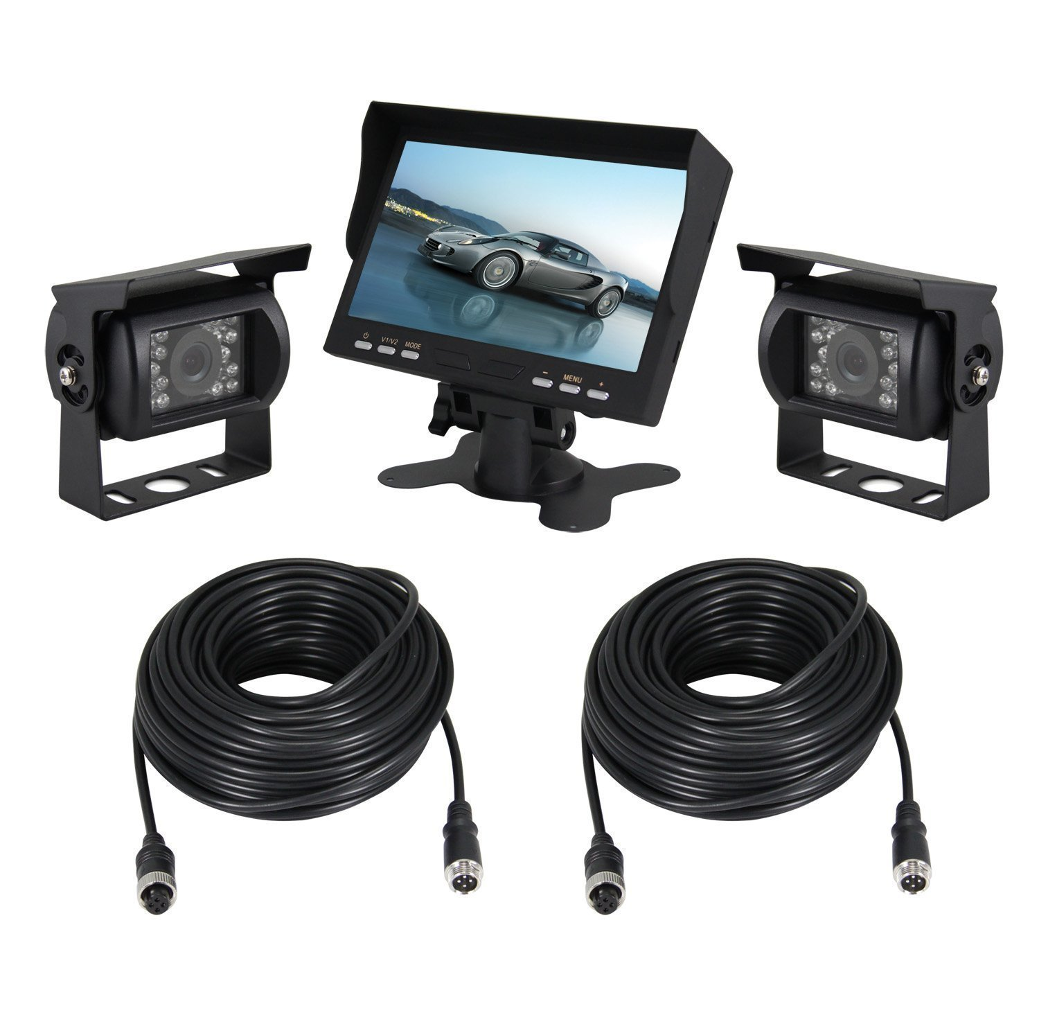 Esky 7-Inch TFT LCD Color Monitor Car Backup Rear View Camera System (Night Vision, Side Camera)