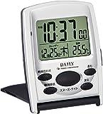 リズム時計 目覚まし時計 電波 デジタル ジャストウェーブR107DN 旅行 用 携帯 トラベル クロック 銀色 DAILY (デイリー) 8RZ107DN19