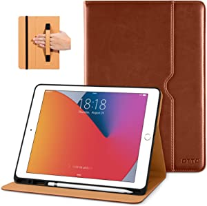DTTO New iPad 7th/8th Generation Case 10.2 Inch 2019/2020, Premium Leather Business Folio Stand Cover with Built-in Apple Pencil Holder - Auto Wake/Sleep and Multiple Viewing Angles - Brown