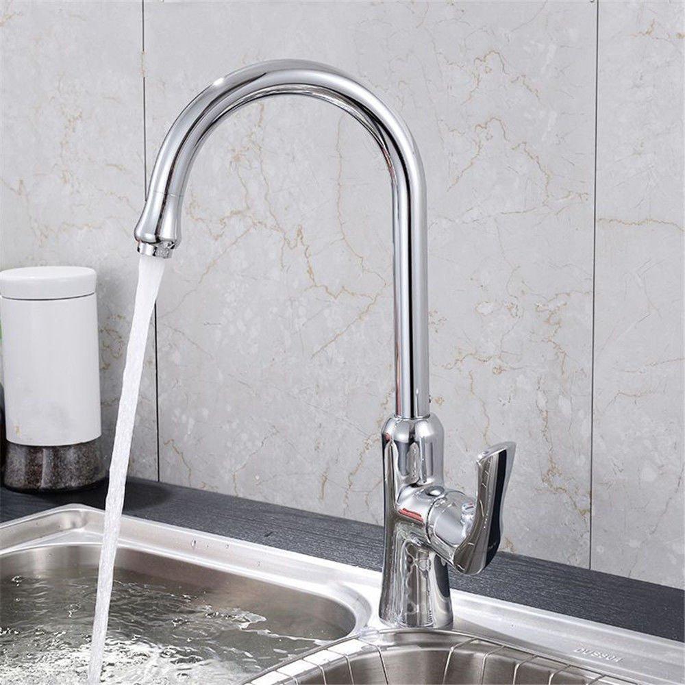 MEIBATH Waschtischarmatur Badezimmer Waschbecken Wasserhahn Küchenarmaturen Messing 360° Drehbar Warmes und Kaltes Wasser Ventil Küchen Wasserhahn Badarmatur