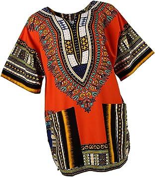 B Blesiya Camisa étnico Caftán Unisex Africanas Vestido Algodón Dashiki Adorno Tradicional Mujer Ropa Ligero - Naranja: Amazon.es: Deportes y aire libre