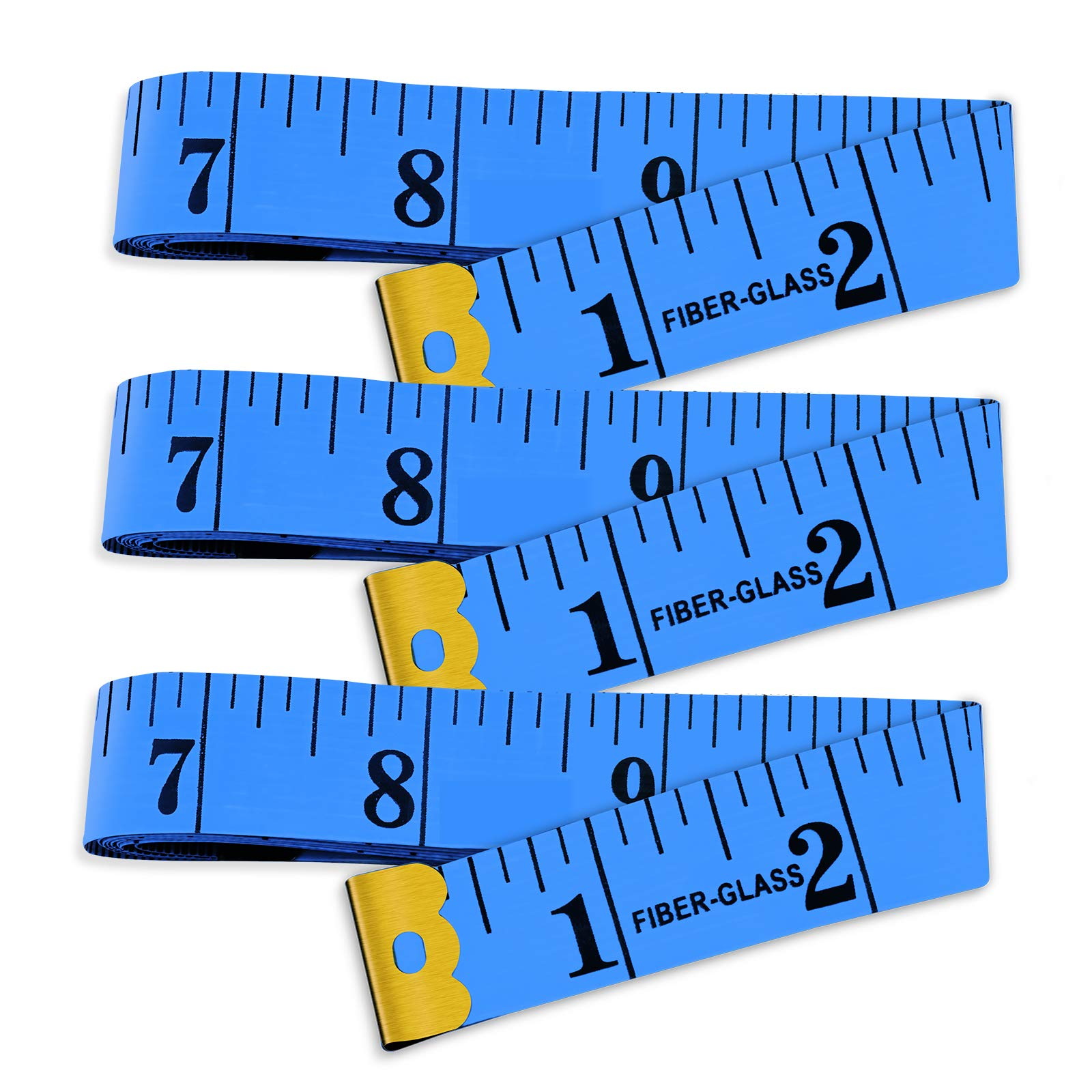 Yojoloin 3PCS 60 inches Double Scale Soft Tape Measure Flexible Ruler for Measuring Weight Loss Medical Body Measurement Sewing Tailor Dressmaker Cloth Ruler with Accurate Measurements(150cm/60inch)