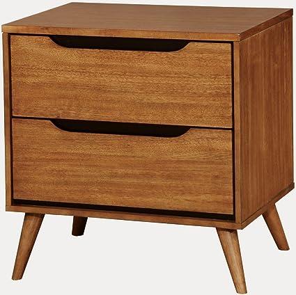 Beau Furniture Of America CM7386A N Lennart Oak Nightstand, 24u0026quot; ...